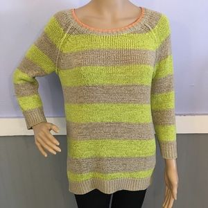 Cable & Gauge striped metallic sweater large